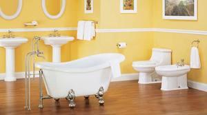 Банановый желтый в интерьере ванной комнаты