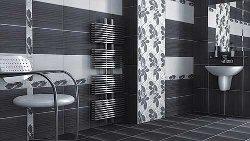 Комбинирование укладки черной плитки в ванной комнате