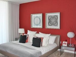 Красная смородина – интерьер спальни